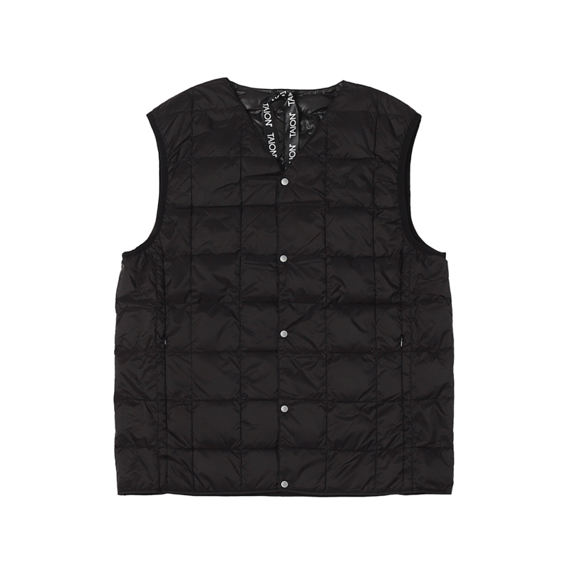 V NECK BUTTON DOWN VEST - BLACK