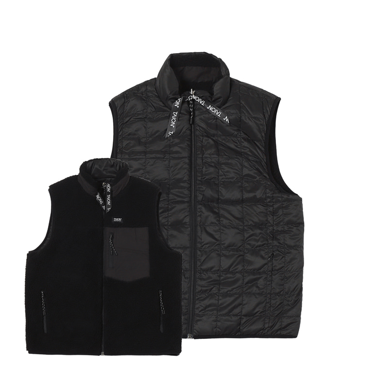 DOWN X BOA REVERSIBLE DOWN VEST - BLACK