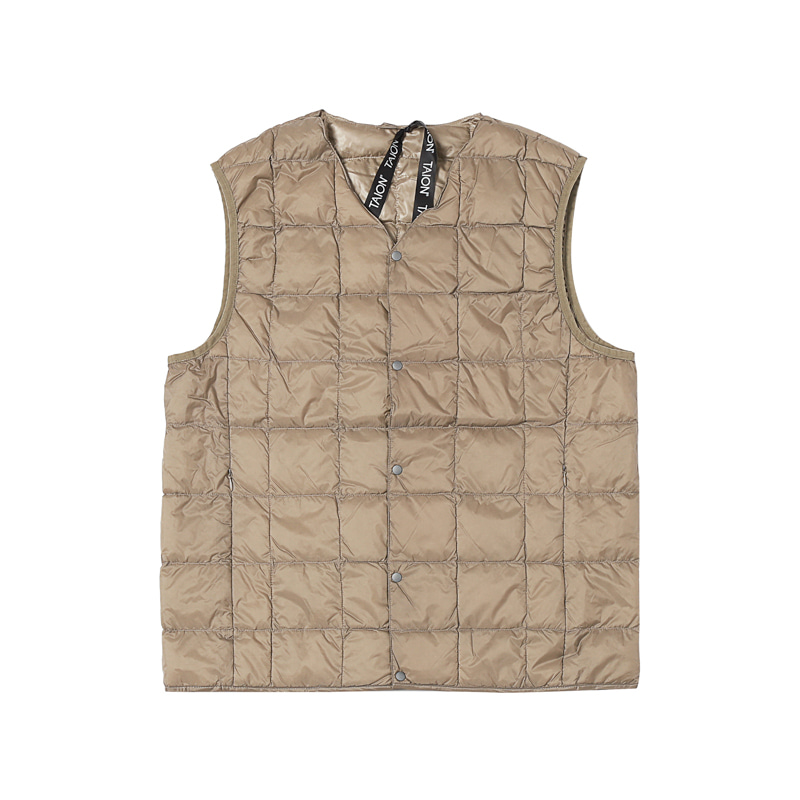 V NECK BUTTON DOWN VEST - KHAKI