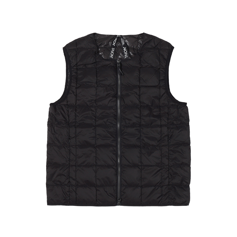 CREW NECK W-ZIP DOWN VEST - BLACK