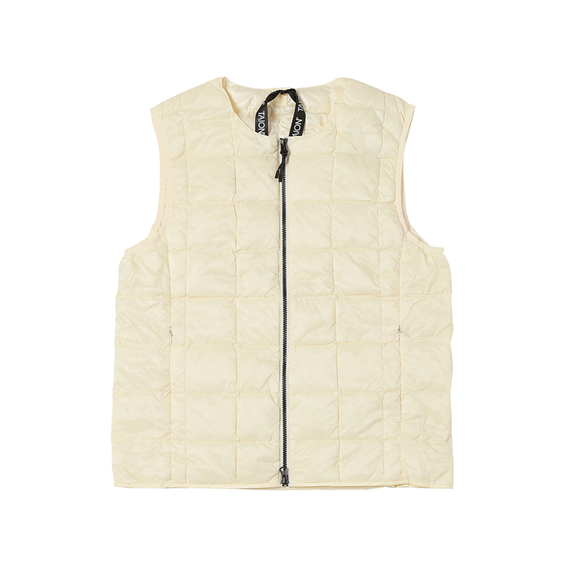 CREW NECK W-ZIP DOWN VEST - OFF WHITE