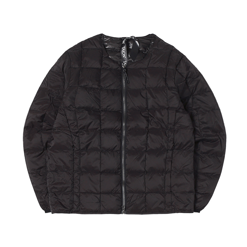 CREW NECK W-ZIP DOWN JACKET - BLACK