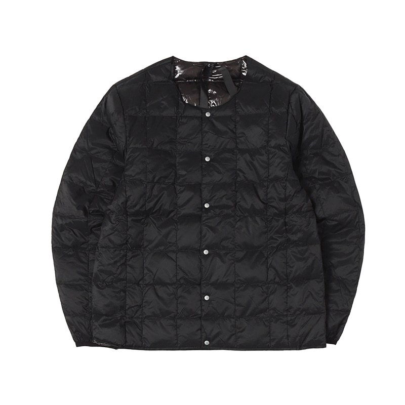 CREW NECK BUTTON DOWN JACKET - BLACK