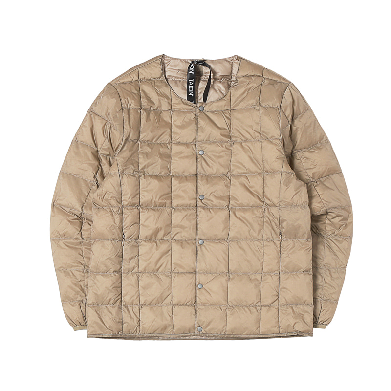 CREW NECK BUTTON DOWN JACKET - KHAKI