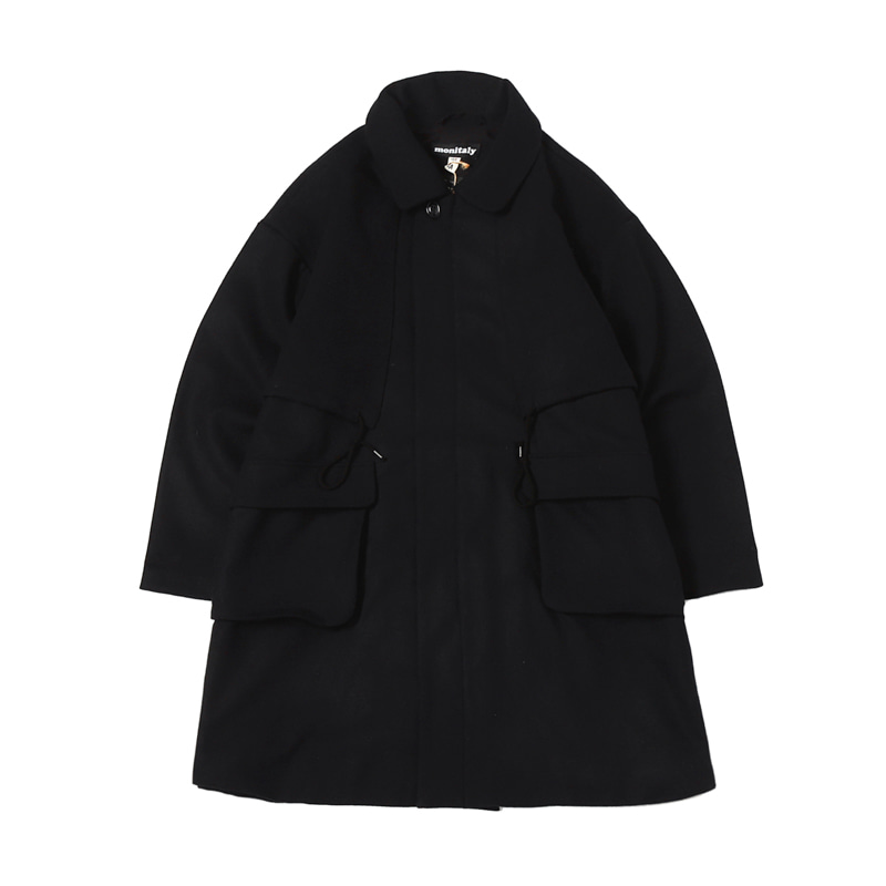 JOSH COAT - WOOL FLANNEL SOLID BLACK