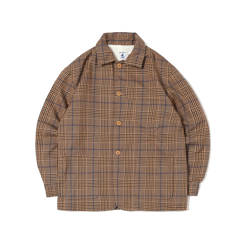 ALFA WOOL CHECK FLANNEL BLAZER - TAN / BLUE