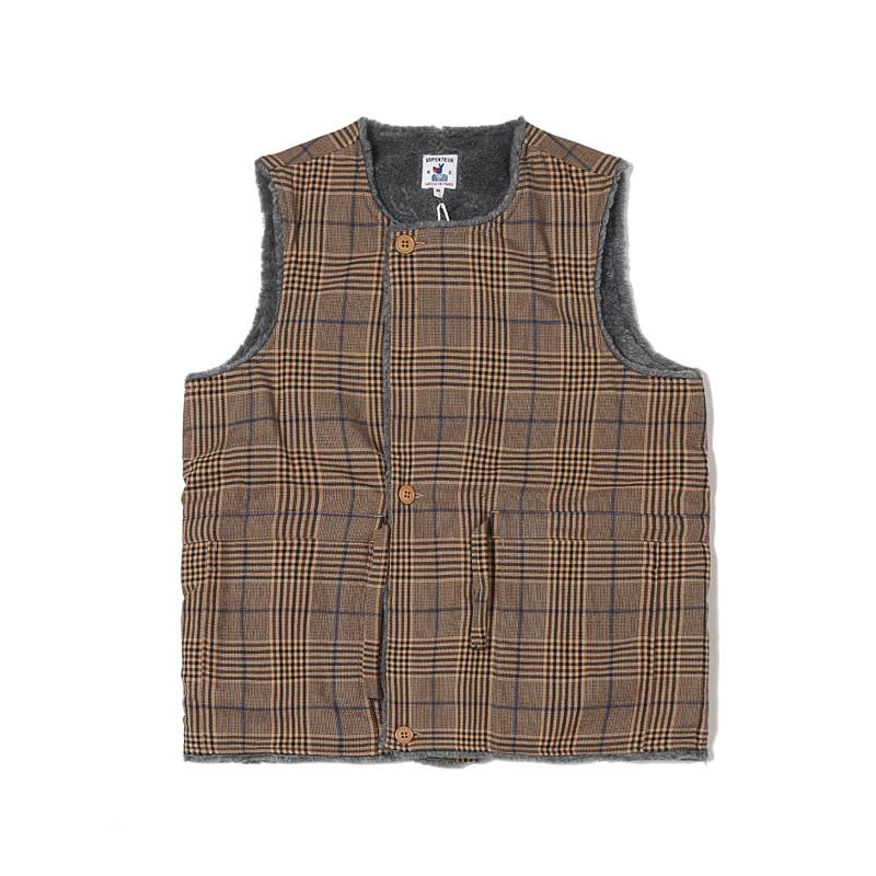 QUART WOOL CHECK FLANNEL VEST - TAN / BLUE