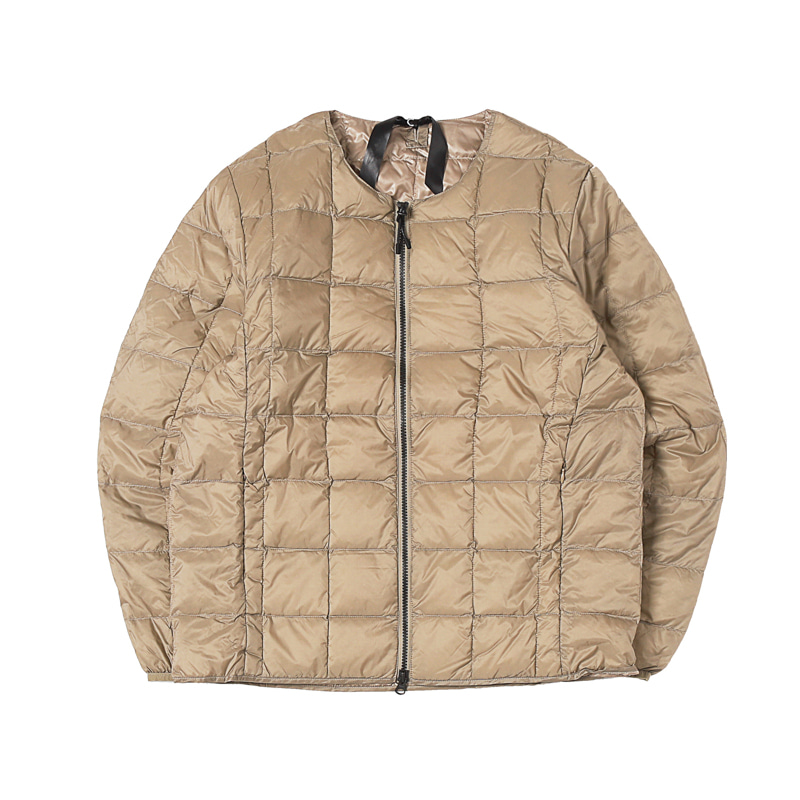CREW NECK W-ZIP DOWN JACKET - KHAKI