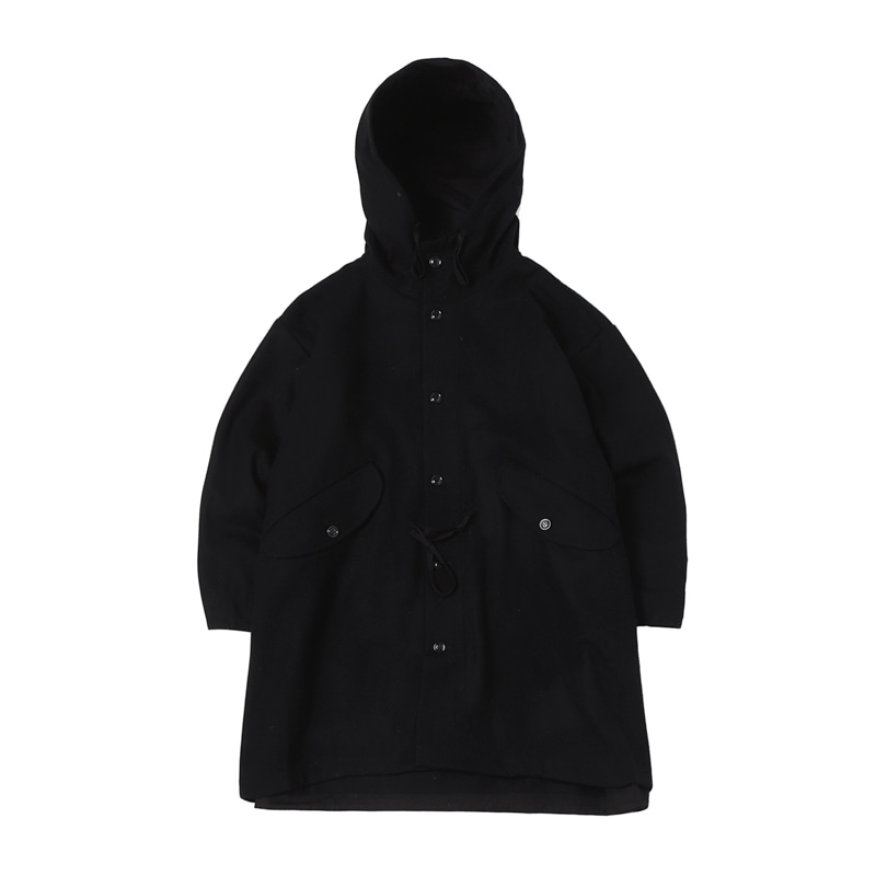 CZECH COAT - WOOL FLANNEL SOLID BLACK