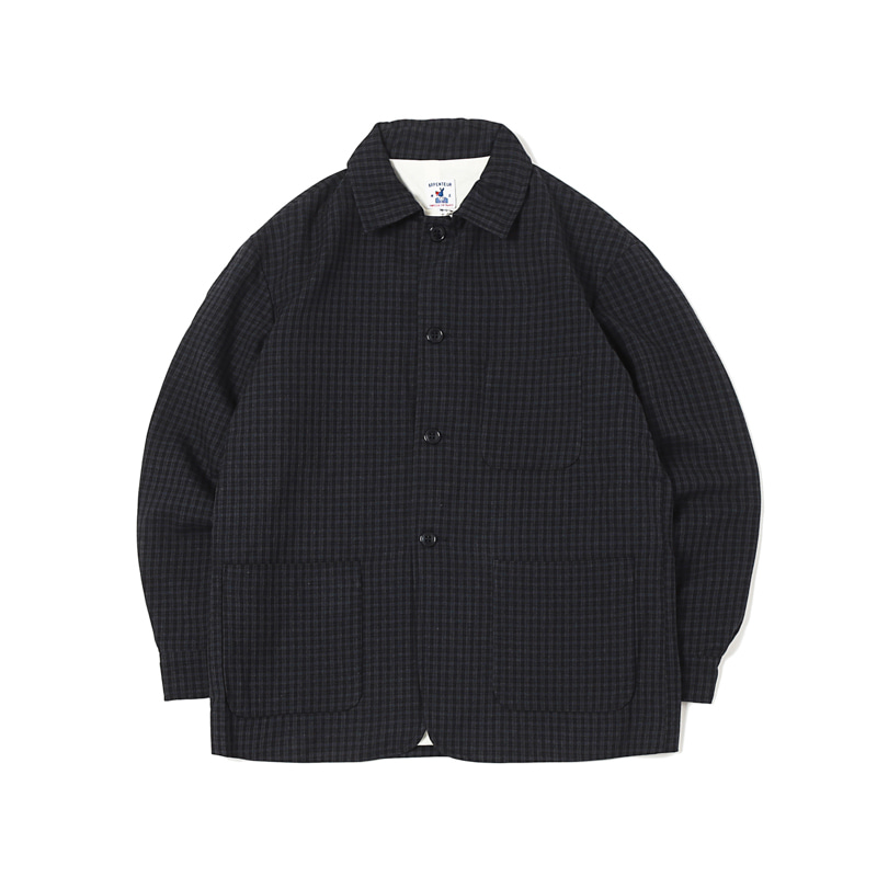 ALFA WOOL CHECK FLANNEL BLAZER - NAVY / GREY
