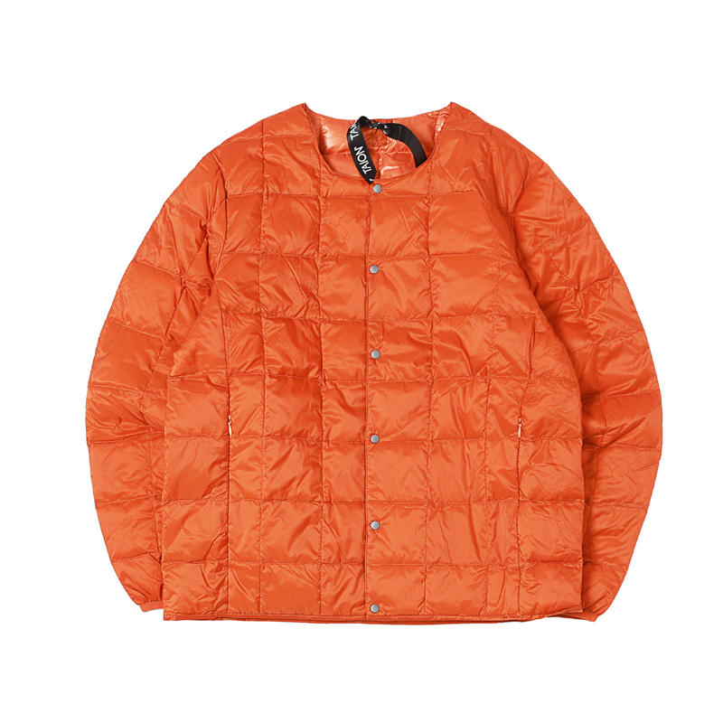CREW NECK BUTTON DOWN JACKET - D.ORANGE