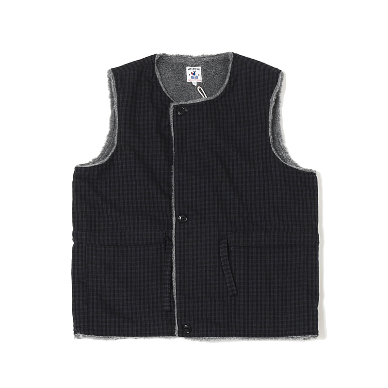 QUART WOOL CHECK FLANNEL VEST - NAVY / GREY