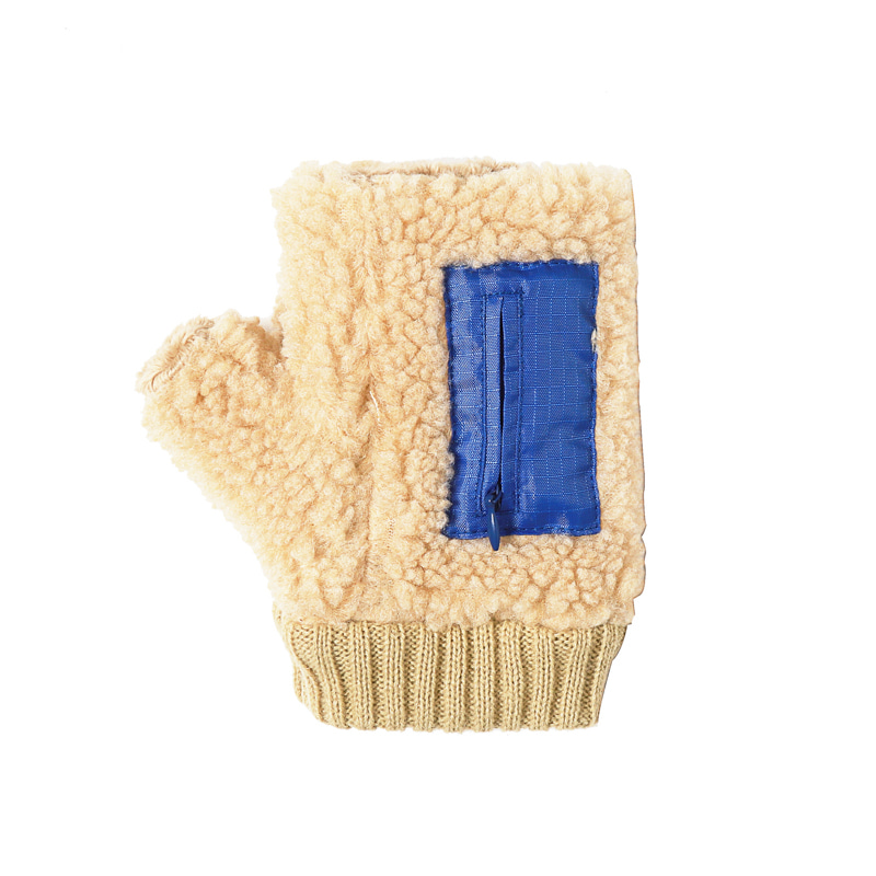 BOA FLEECE FINGERLESS GLOVES - BEIGE BLUE