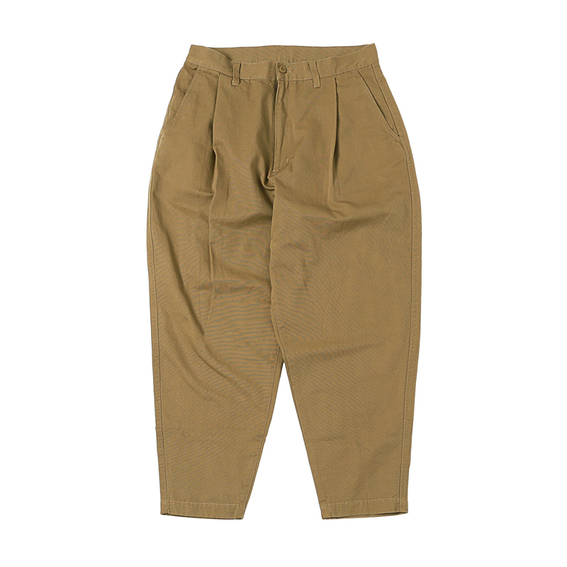 ONE-TUCK TAPERED CHINO PANTS - BROWN (BR-8044)