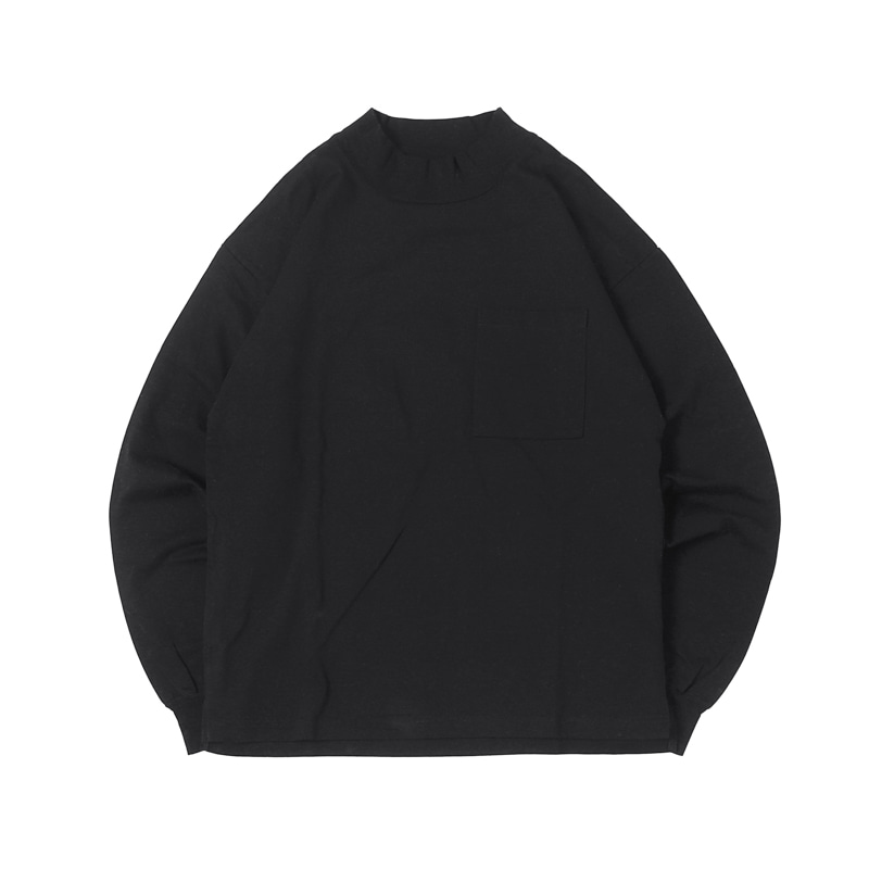 HIGHEST L/S MOCKNECK POCKET TEE  - BLACK (BH2400)