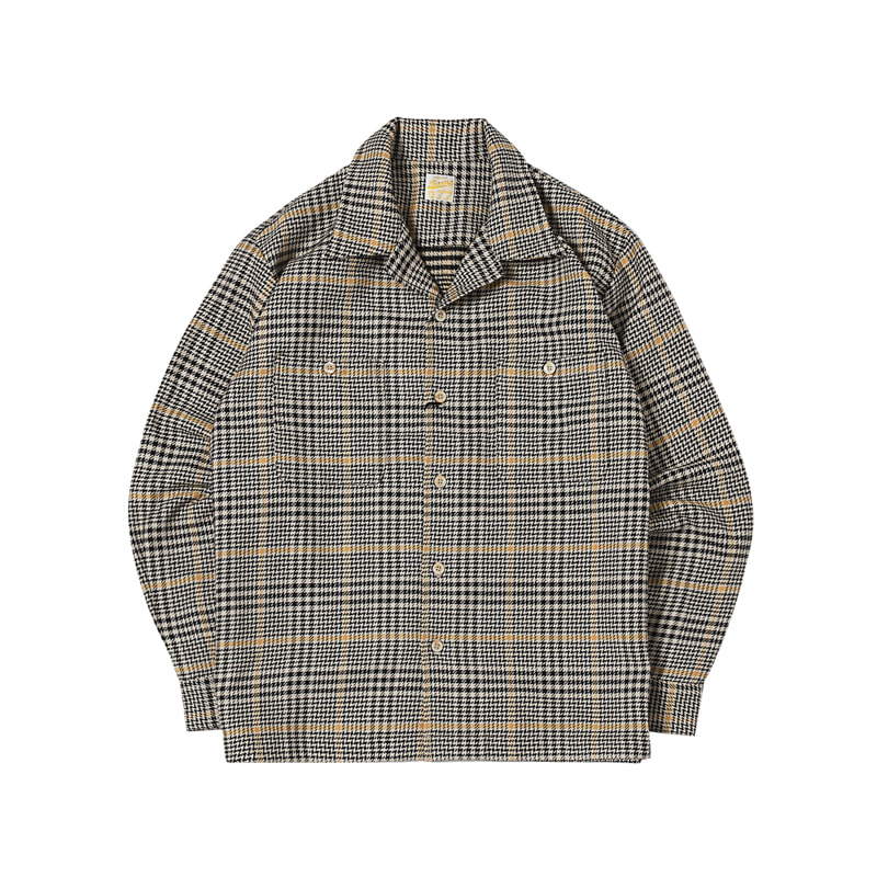 COTTON FLANNEL SHIRTS - BEIGE HOUNDTOOTH (BH-8014)