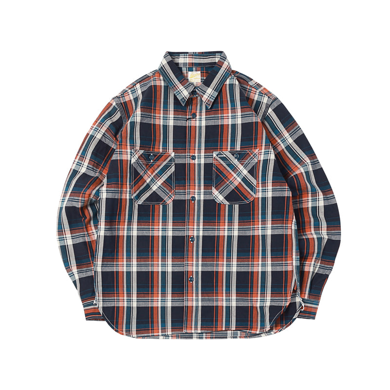 HEAVY COTTON FLANNEL PLAID SHIRTS - NAVY (BH-8015)