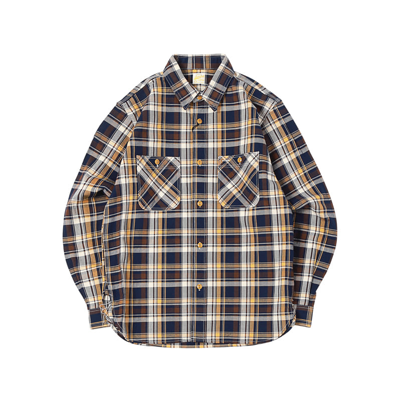 HEAVY COTTON FLANNEL PLAID SHIRTS - YELLOW (BH-8015)
