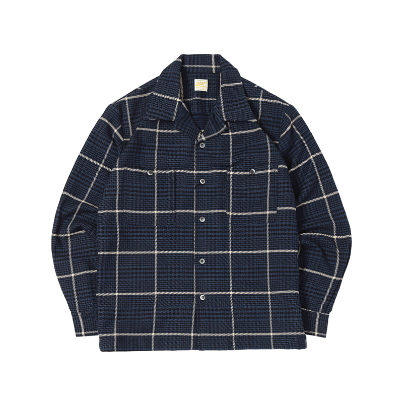 COTTON FLANNEL SHIRTS - NAVY HOUNDTOOTH (BH-8014)