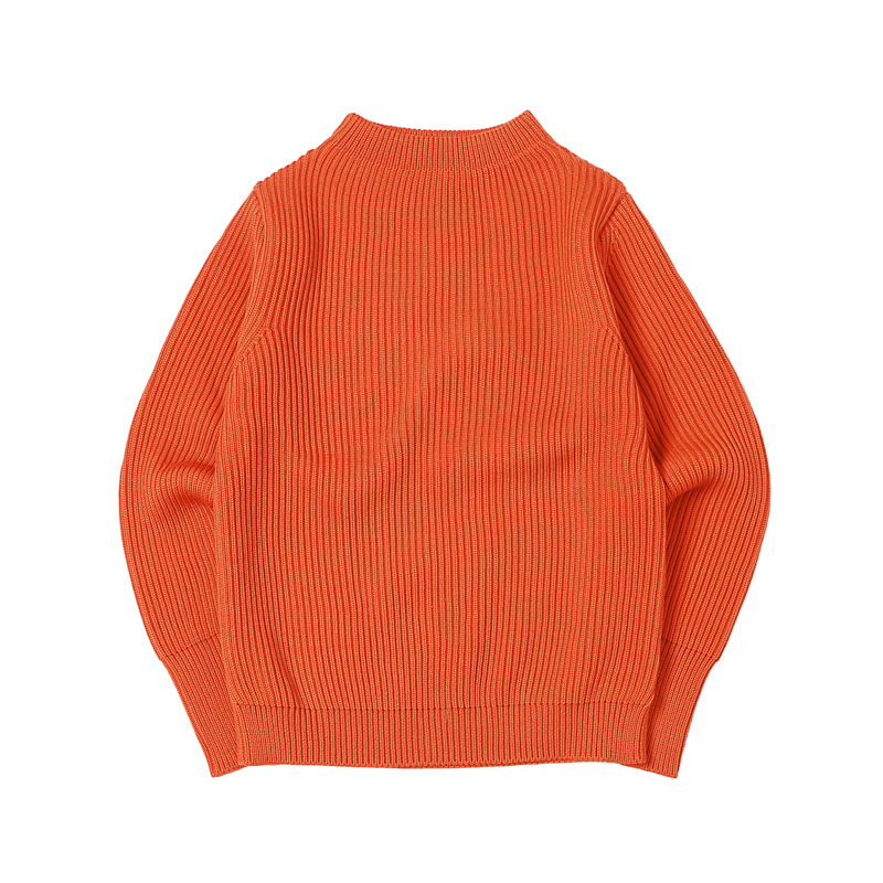 NAVY CREWNECK - ORANGE