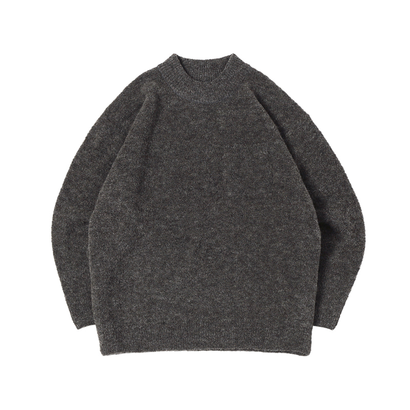 BOUCLE POCKET ALPACA SWEATER - M.GREY