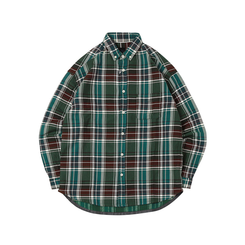 TWILL CHECK RELAX BD SHIRTS - GREEN