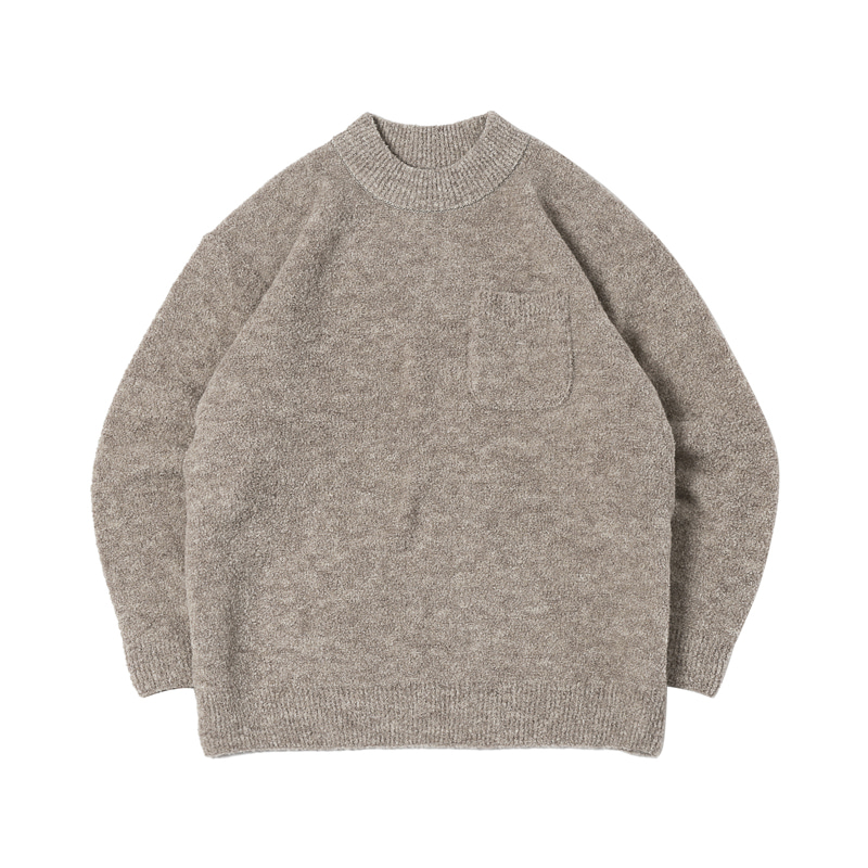 BOUCLE POCKET ALPACA SWEATER - BEIGE