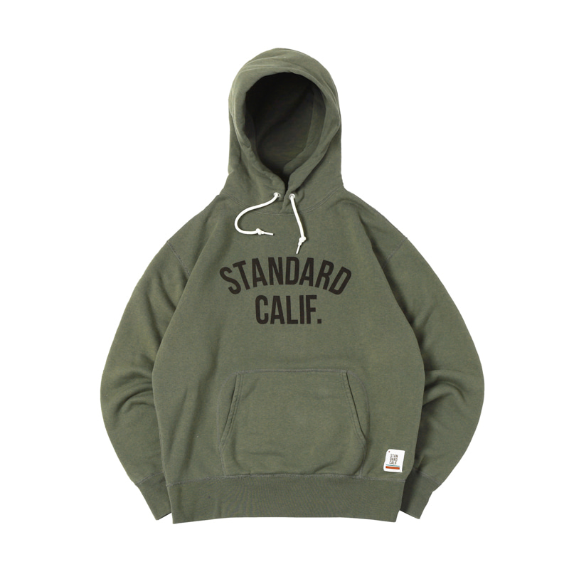 PULLOVER HOOD SWEAT W/LOGO - OLIVE