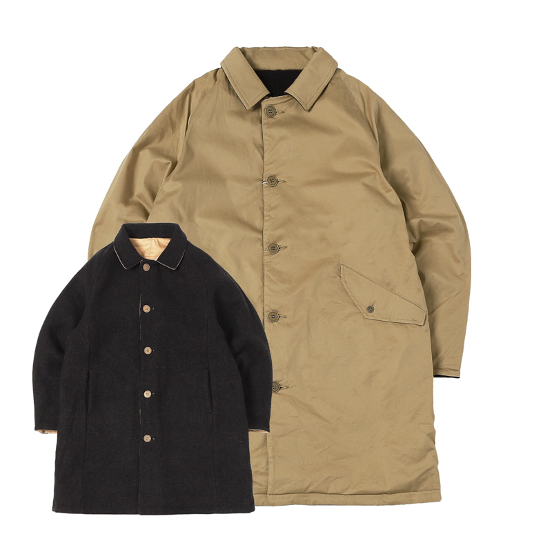 HIGHEST VENTILE X WOOL REVERSE COAT - KHAKI