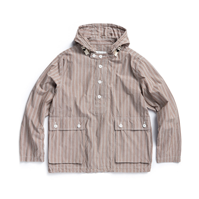 HOODED SHIRT - BEIGE BOLD STRIPE