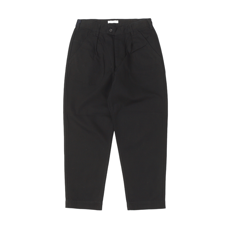 STITCH LOOSE TAPERED TROUSERS - BLACK