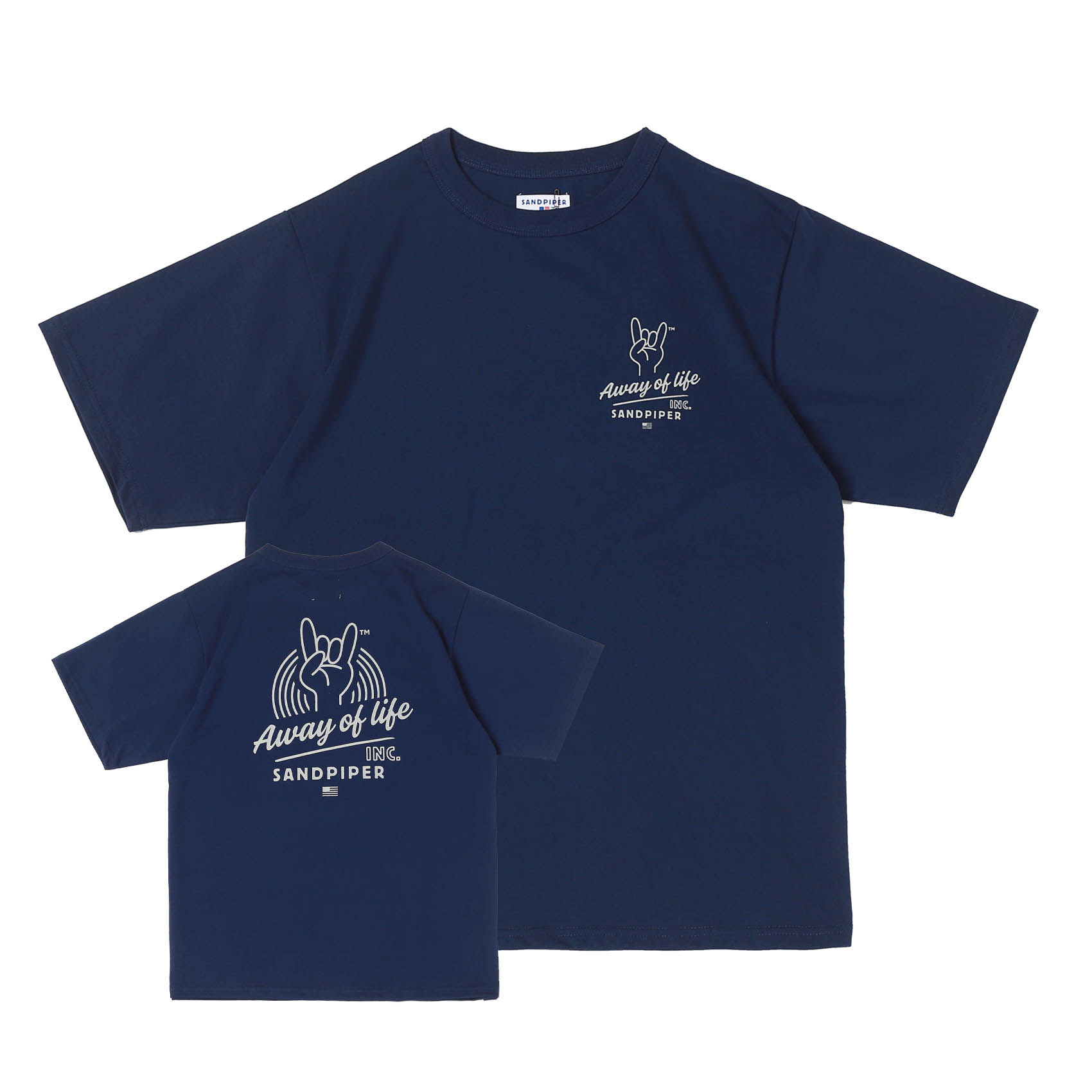 FINGER SIGNATURE TEE - NAVY
