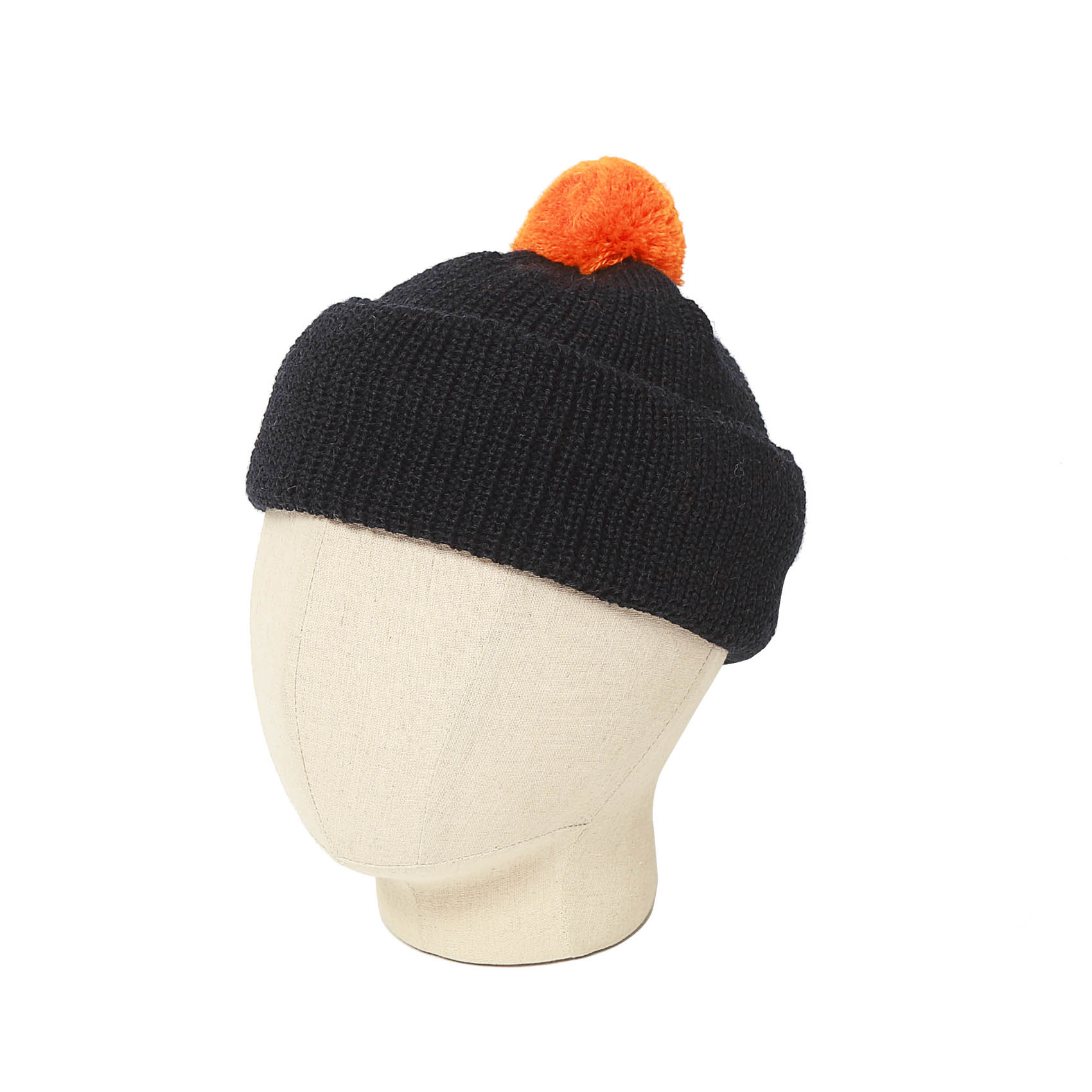 BOBBLE HAT - NAVY/ORANGE