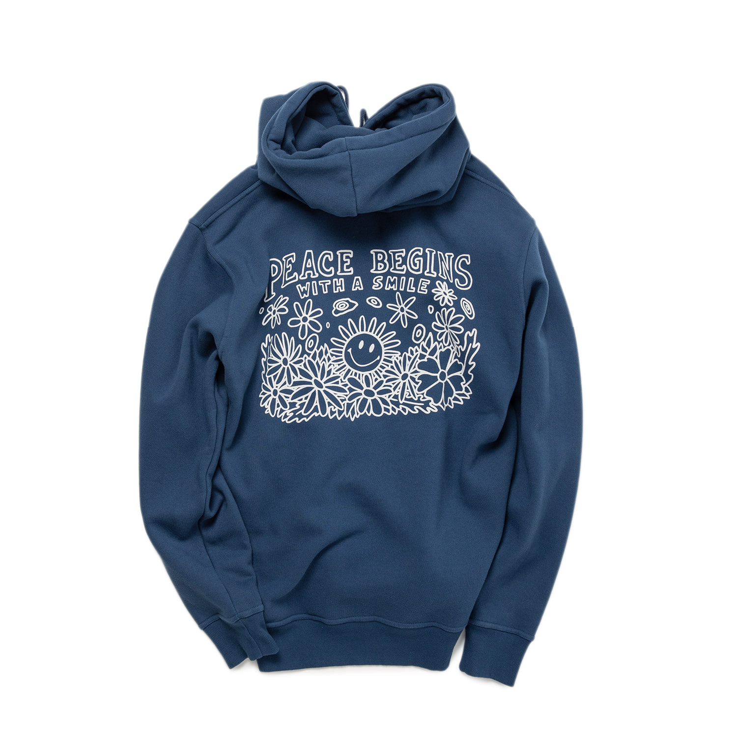 PEACE BEGIN SMILE HOODIE - INDIGO BLUE