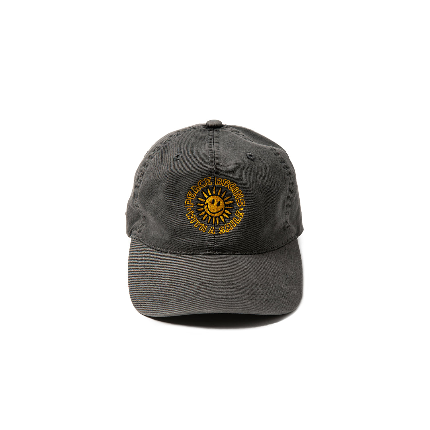 PEACE BEGIN SMILE WASHED CAP - PIGMENT BLACK