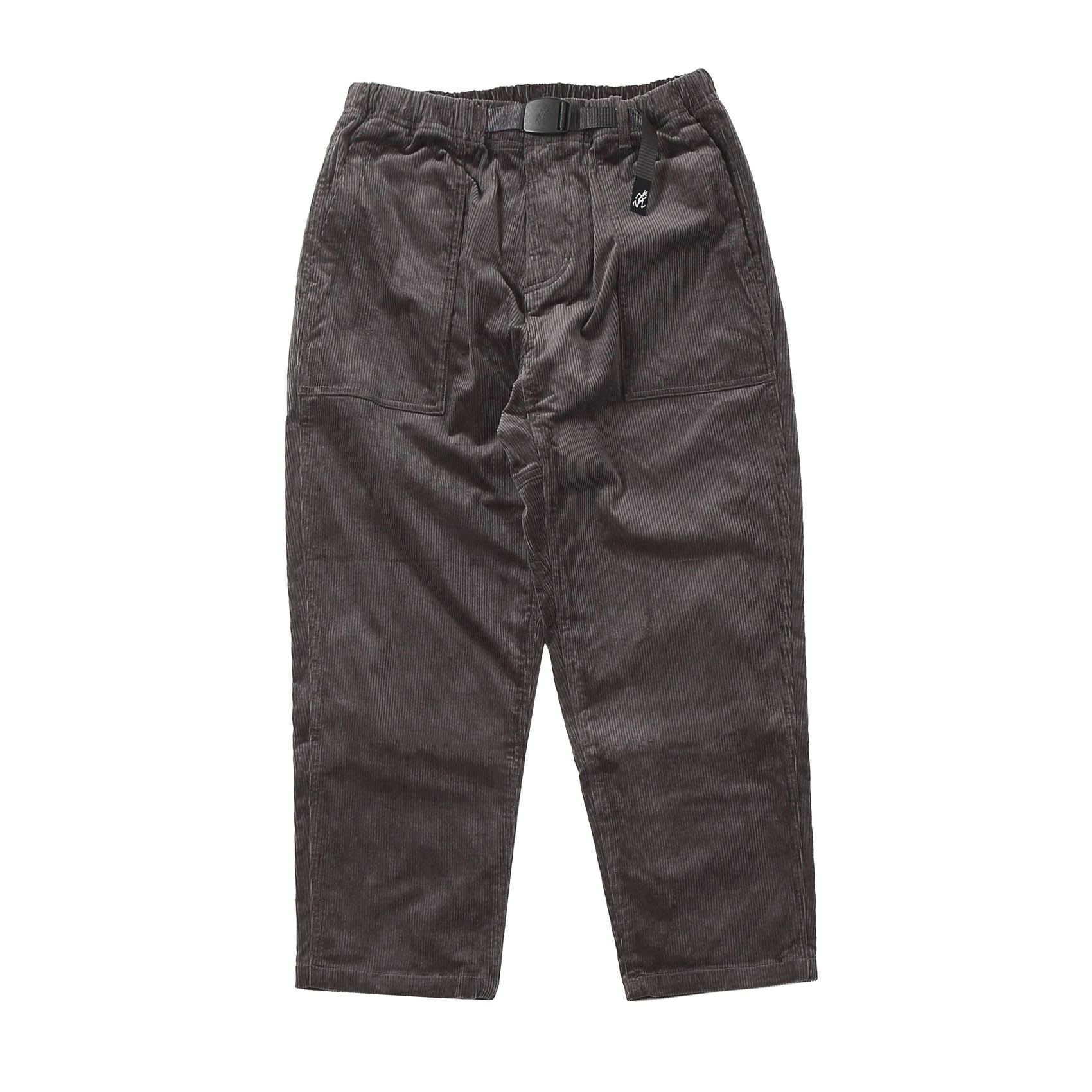 CORDUROY LOOSE TAPERED PANTS - CHARCOAL