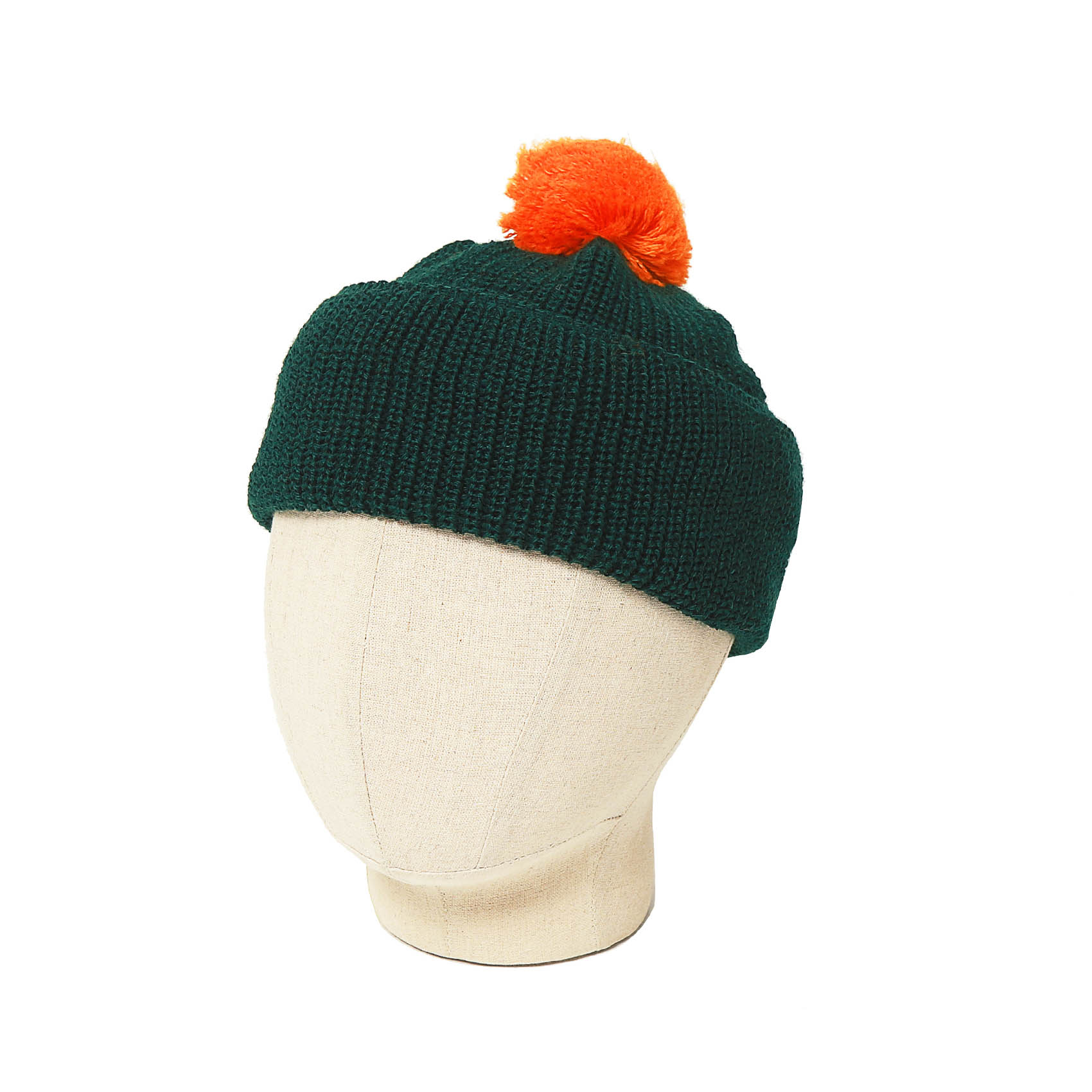BOBBLE HAT - GREEN/ORANGE