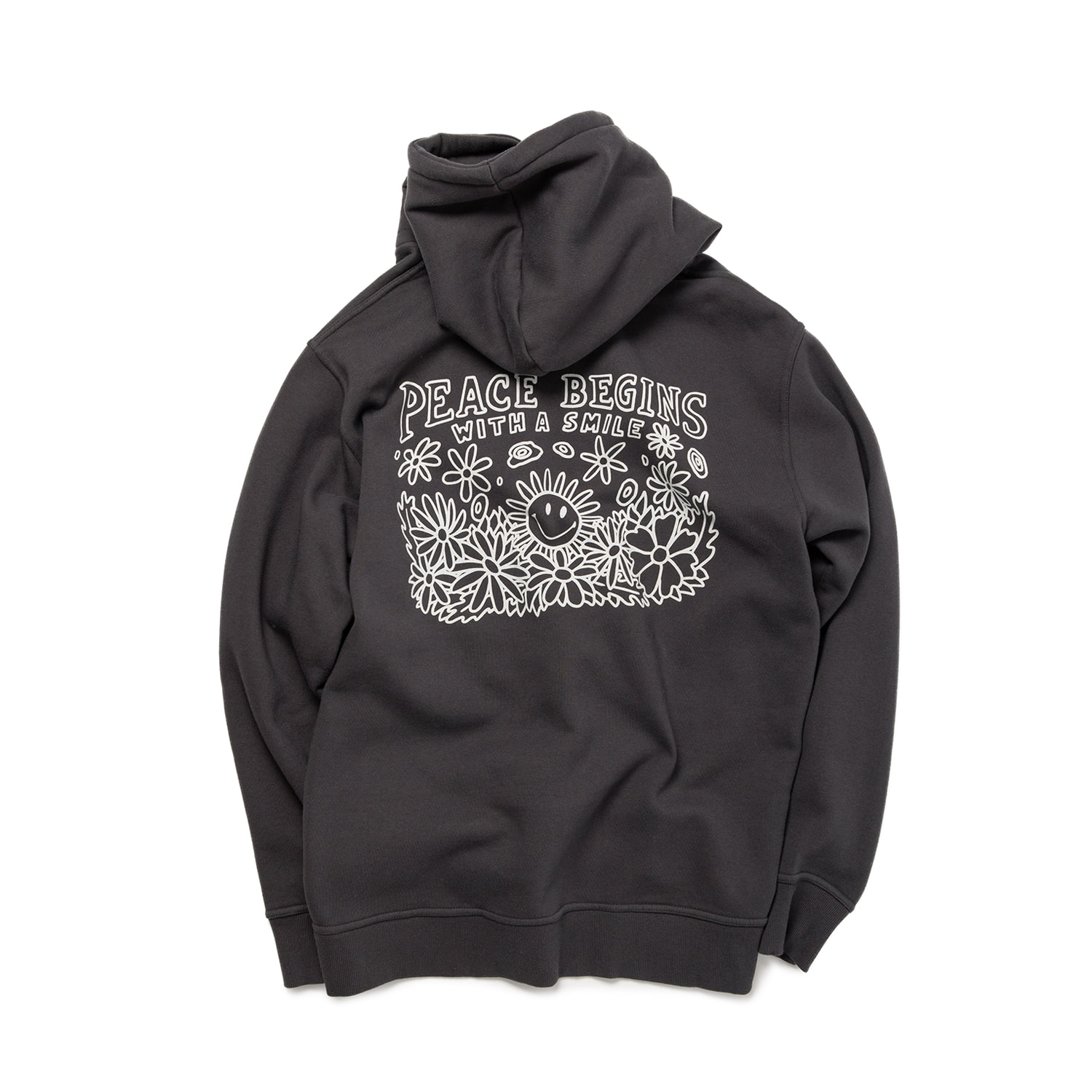 PEACE BEGIN SMILE HOODIE - IRON GRAY