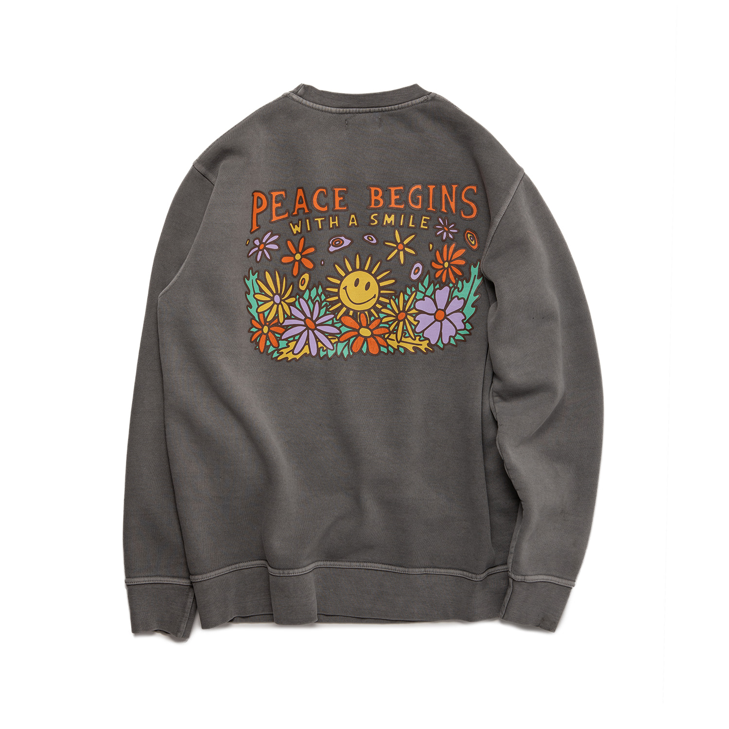 PEACE BEGINS SMILE SWEAT - COOL GRAY