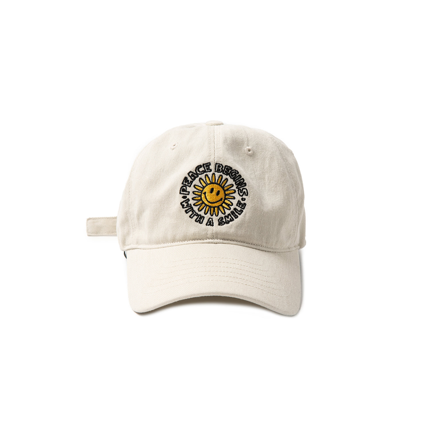PEACE BEGIN SMILE WASHED CAP - IVORY