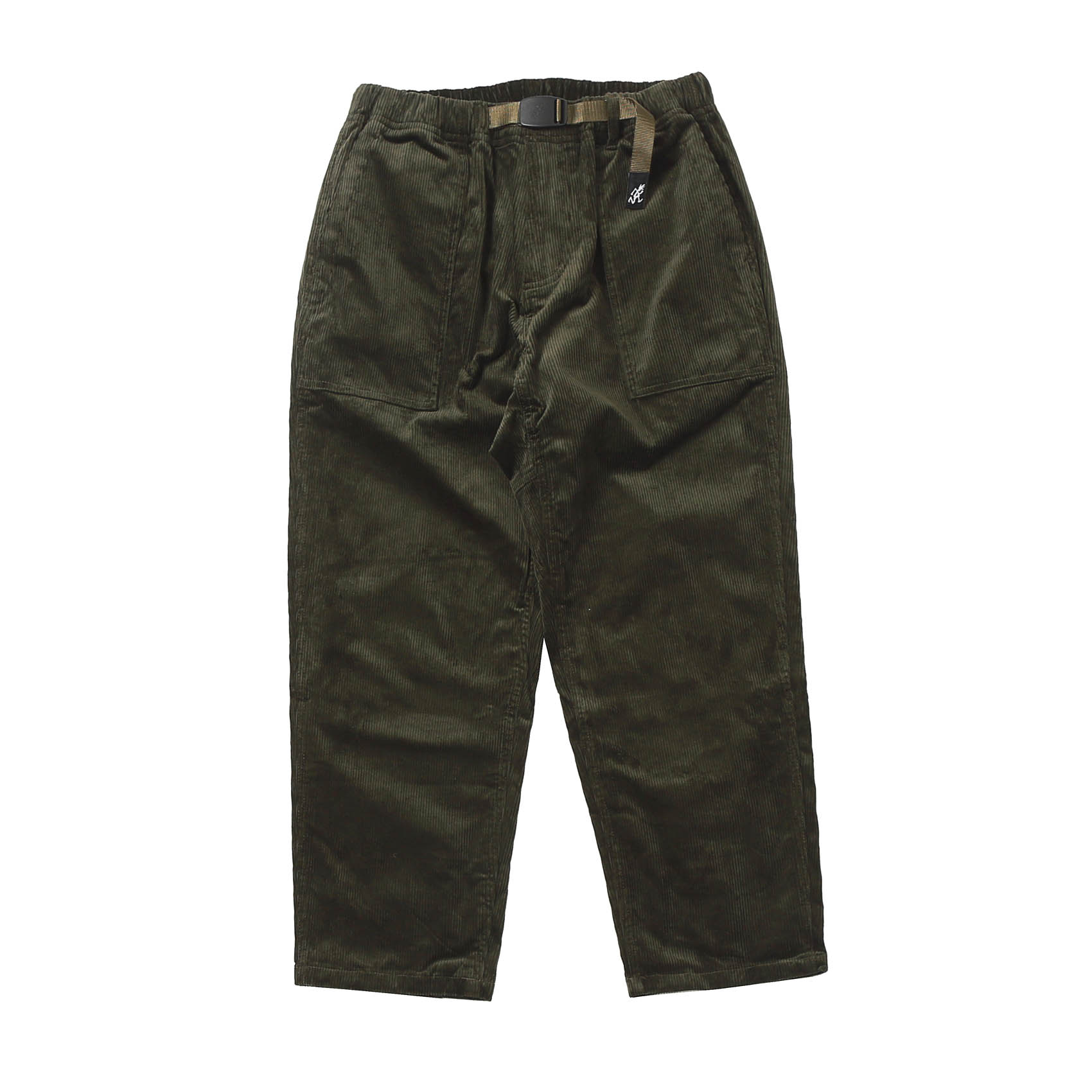 CORDUROY LOOSE TAPERED PANTS - OLIVE