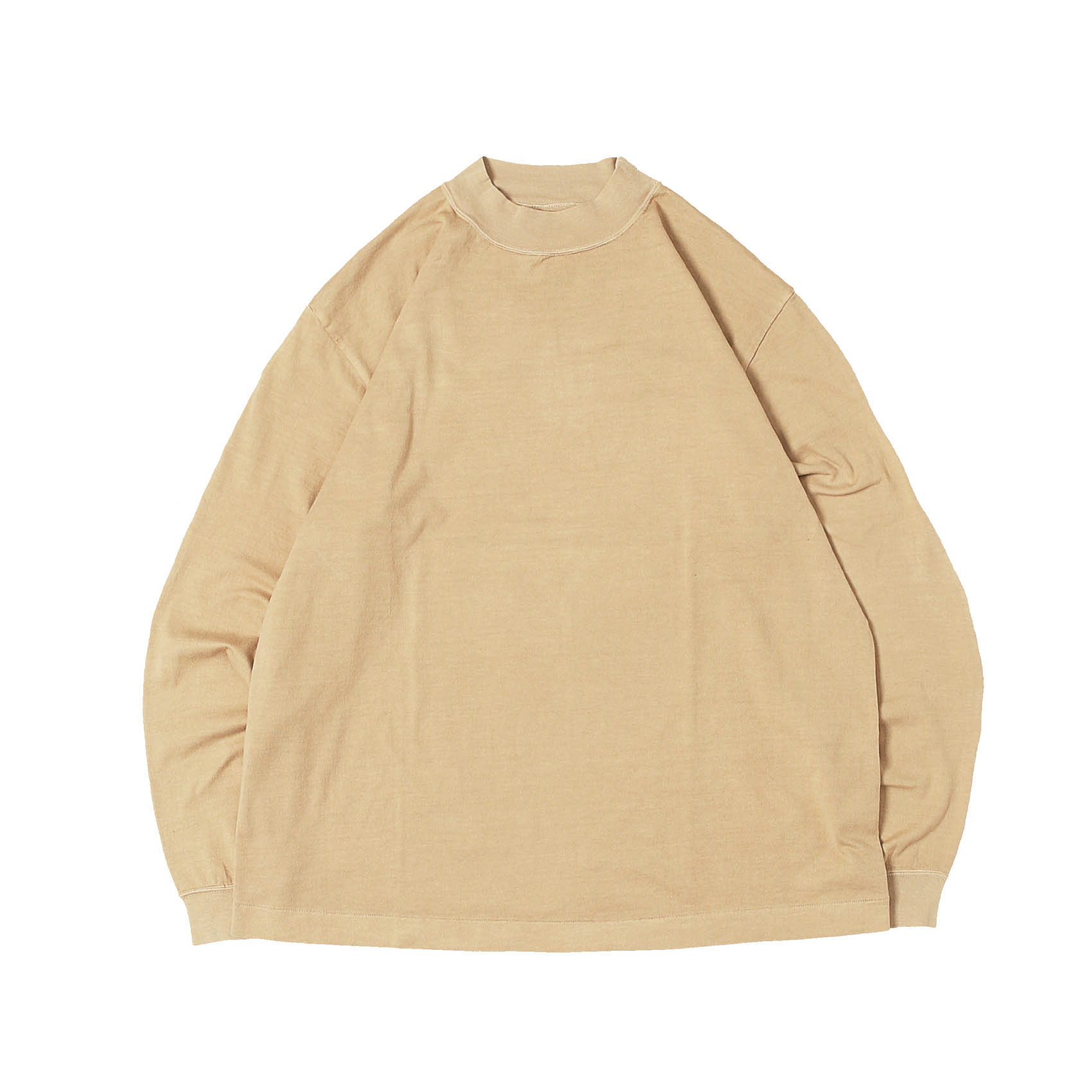 L/S MOCK NECK TEE - TAN