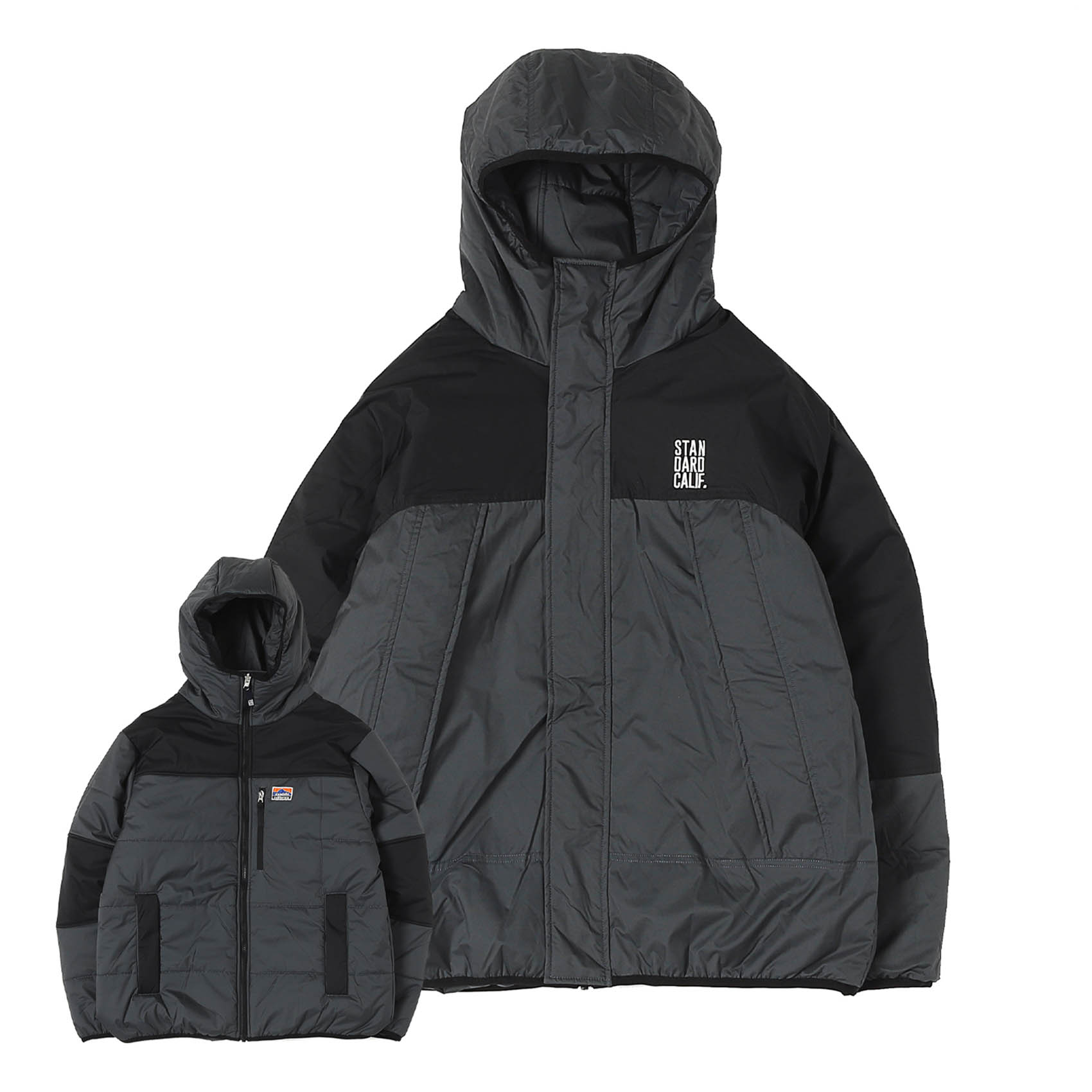 FLEESTRETCH REVERSIBLE PUFF PARKA - BLACK / CHARCOAL