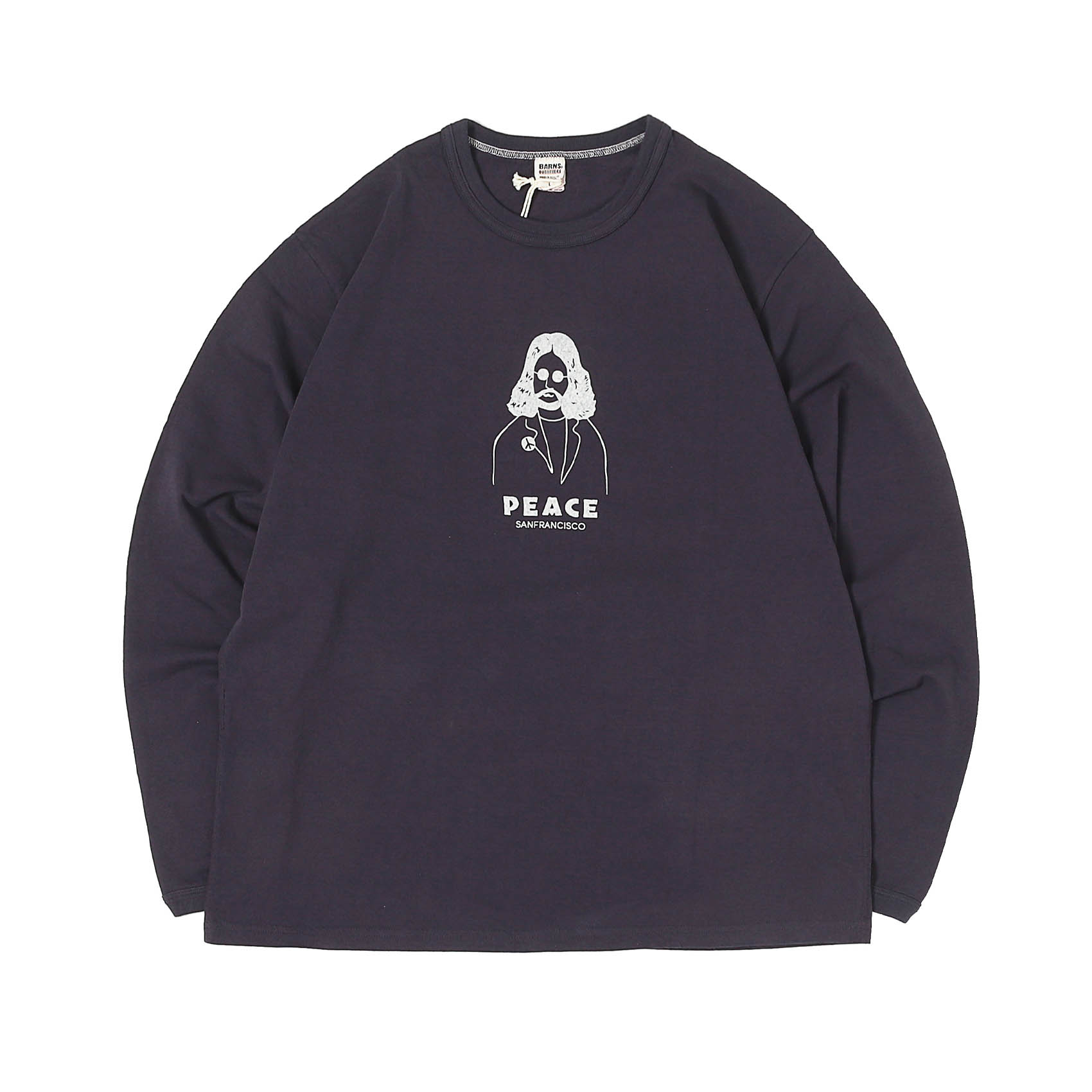 L/S PRINTED TEE - PEACE BLACK