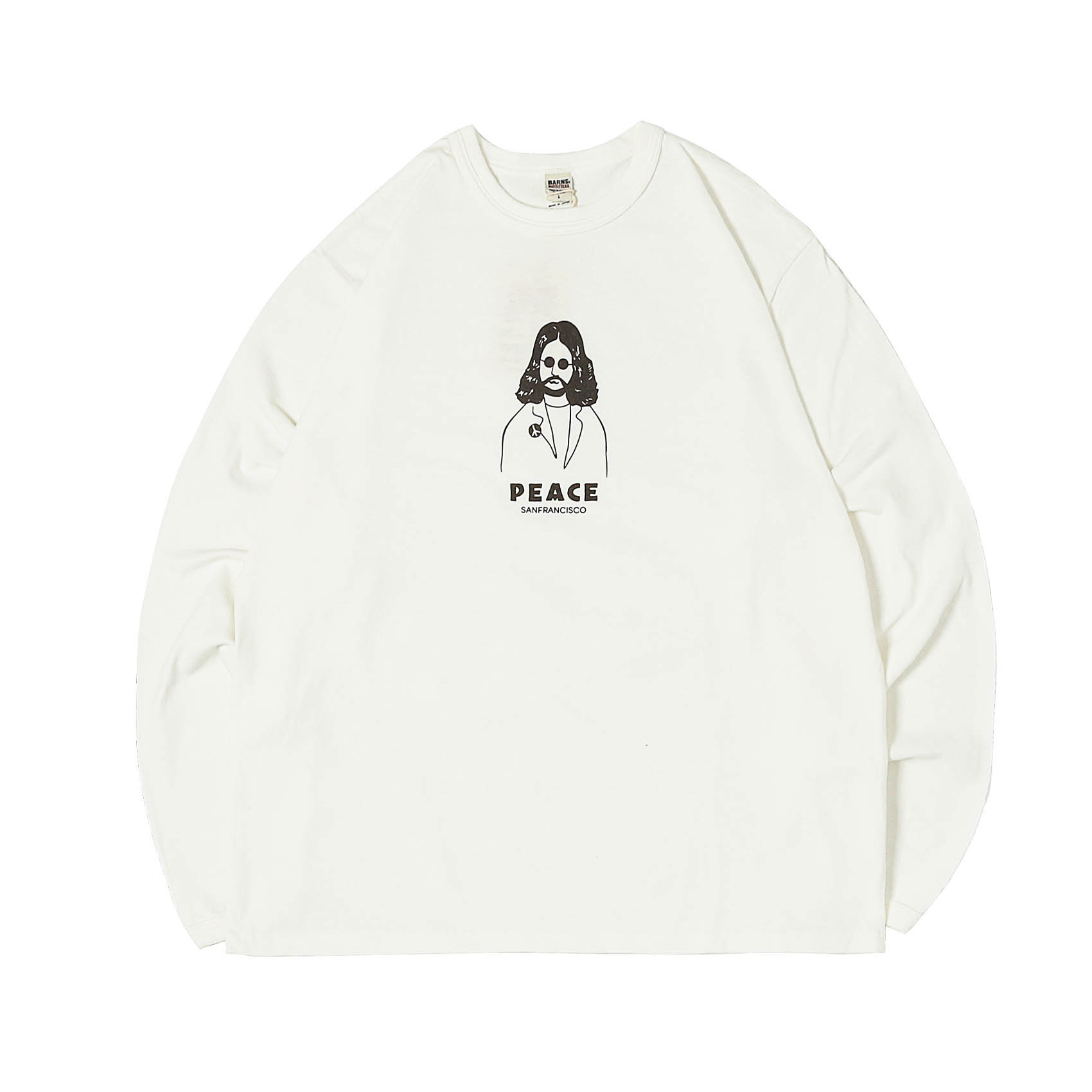 L/S PRINTED TEE - PEACE WHITE