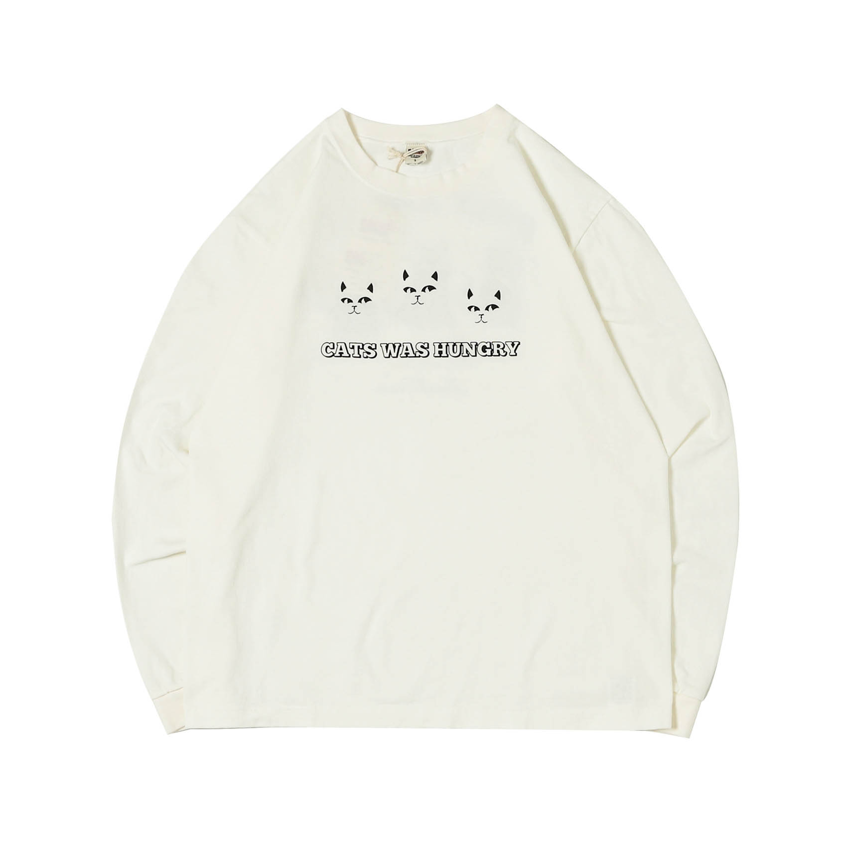 L/S PRINTED TEE - CATS WAS HUNGRY WHITE