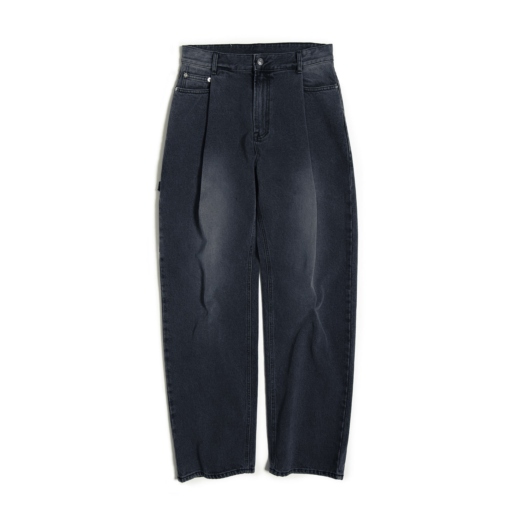 ONE TUCK WIDE DENIM - BLACK