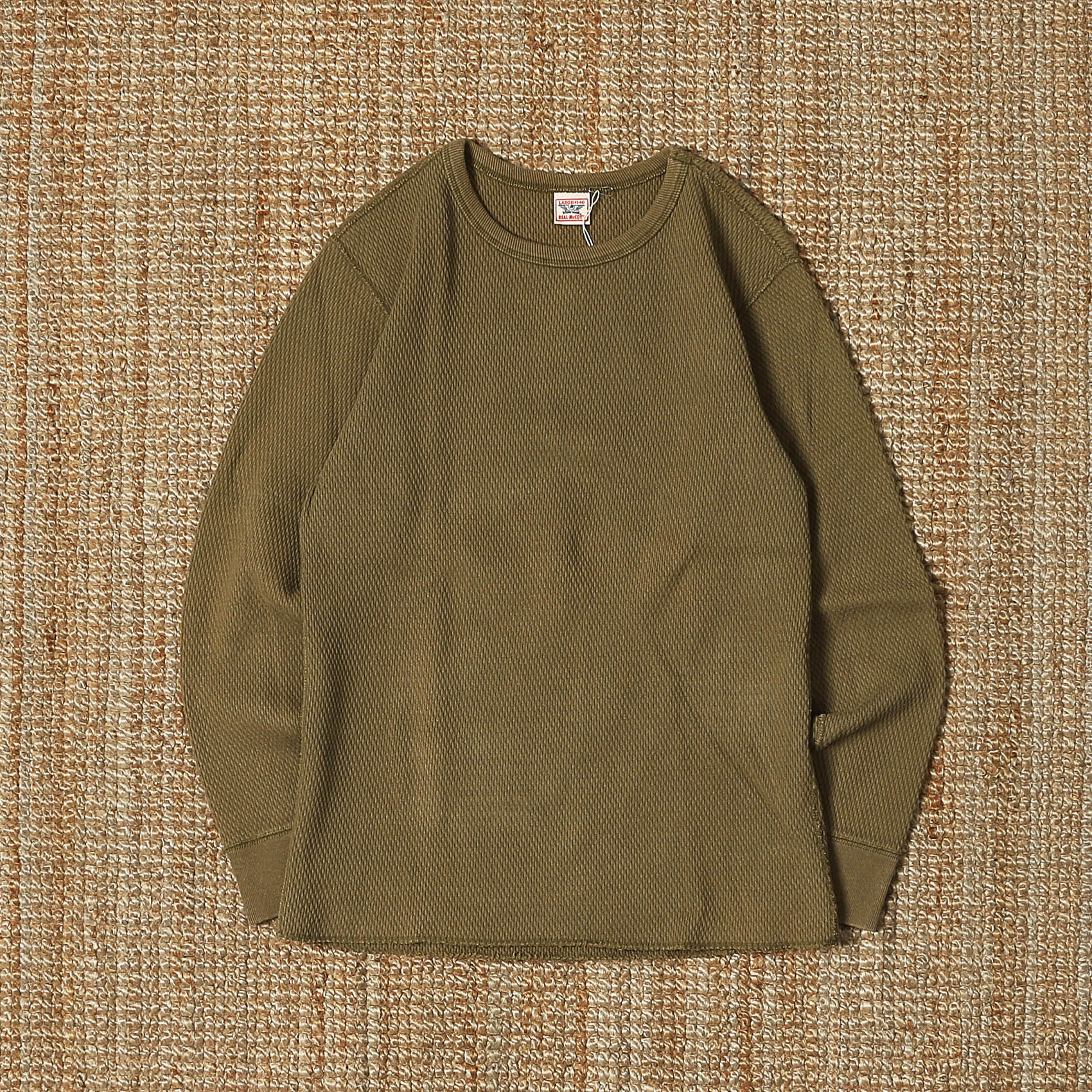 THE REAL MCCOY'S THERMAL T SHIRT - KHAKI