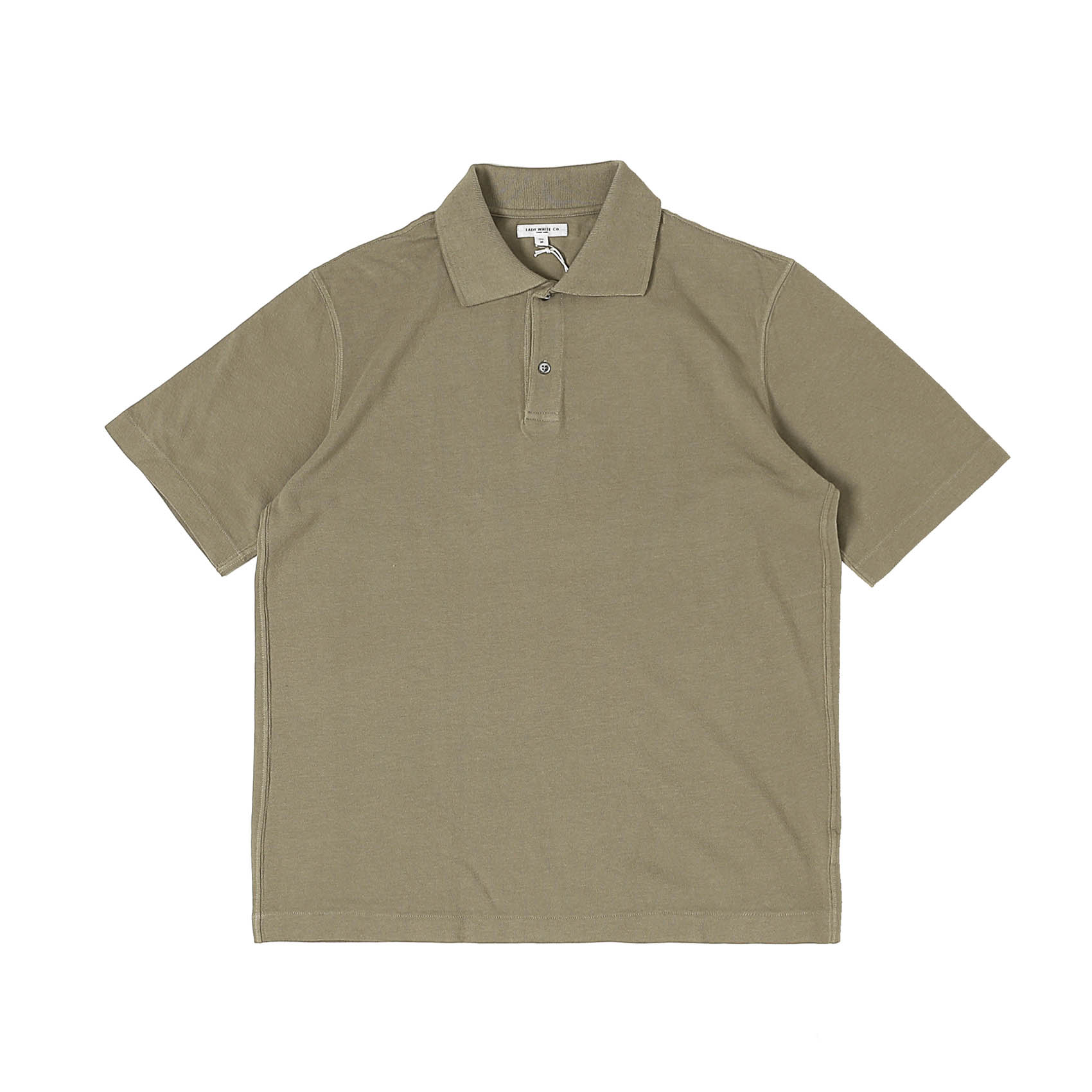 S/S TWO BUTTON POLO - ALMOND