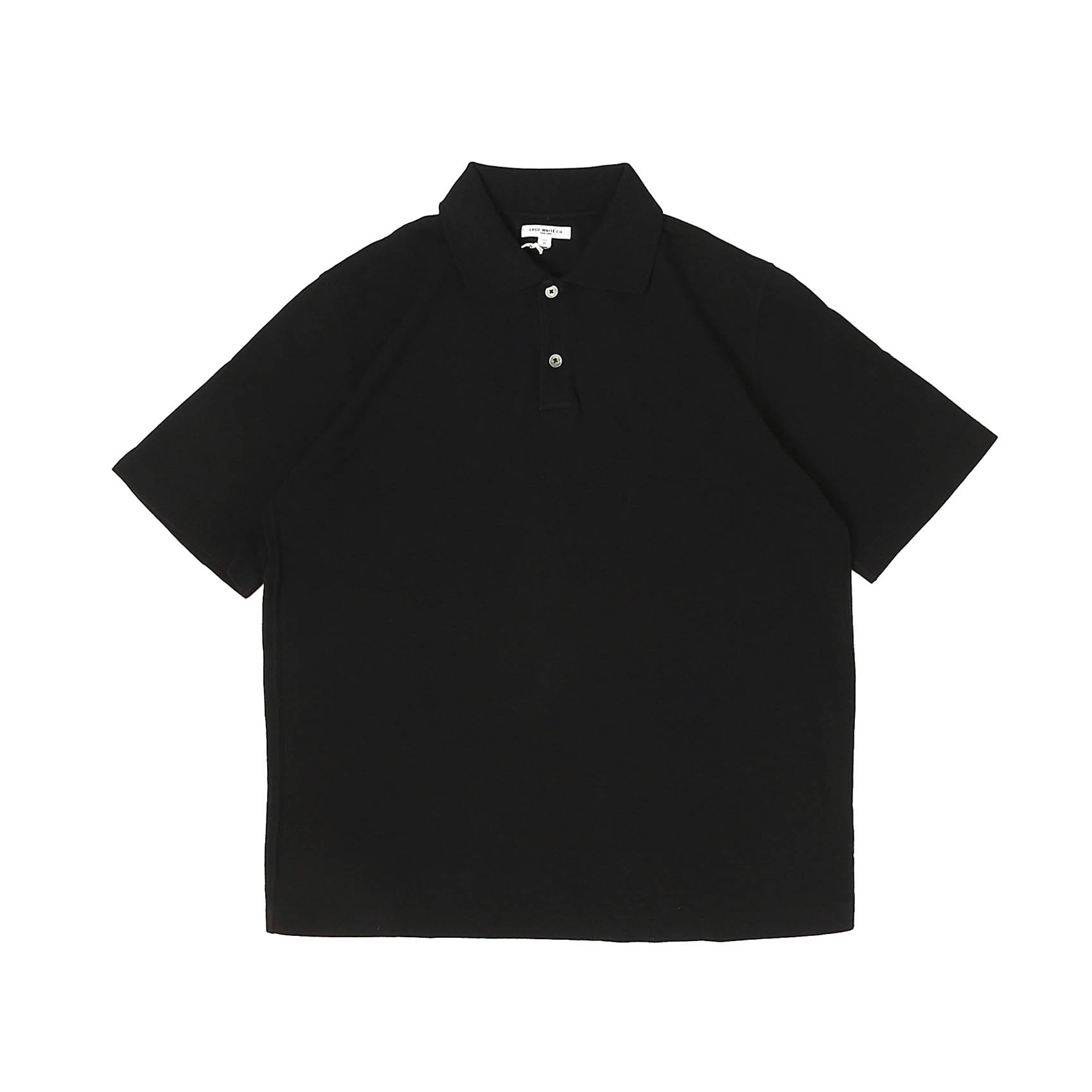 S/S TWO BUTTON POLO - BLACK